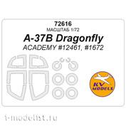 72616 KV Models 1/72 Окрасочная маска для A-37B Dragonfly (ACADEMY #12461, #1672) + маски на диски и колеса