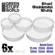 2140 Green Stuff World Полупрозрачные белые круглые формы для создания оснований, 6 шт. / 6x Translucent white Containment Moulds for Bases - Round