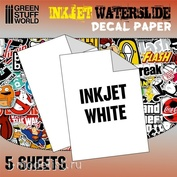 10067 Green Stuff World Белая бумага для создания декалей, для струйной печати / Waterslide Decals - Inkjet White