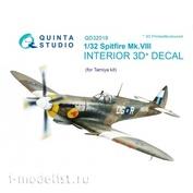 QD32019 Quinta Studio 1/32 3D Interior Decal for Spitfire Mk.VIII cabin (for Tamiya model)