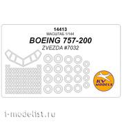 14413 KV Models 1/144 Набор окрасочных масок для Боинг 757-200 (Звезда)