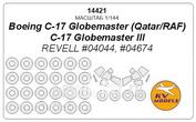 14421 KV models 1/144 Boeing C-17 Globemaster (Qatar/RAF) / C-17 Globemaster III (Revell #04044, #04674) + маски на диски и колеса