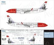 738-051 Ascensio 1/144 Декаль на самолет боенг 737-800 (Norwegian (Jorn Utzon))