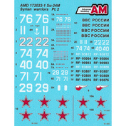 AMD172022-1 Advanced Modeling 1/72 Decals for Sukhoi-24M from the Russian Aerospace Forces Aviation Group in Syria, Khmeimim airfield
