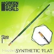 2458 Green Stuff World Кисть плоская Синтетическая Размер 1 / GREEN SERIES Flat Synthetic Brush Size 1