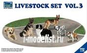 RV35021 Riich 1/35 Livestock Set Vol.3 (six dogs)