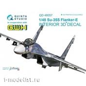 QD48057 Quinta Studio 1/48 3D Декаль интерьера кабины Суххой-35C (для модели GWH)