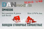 DM48506 DANmodel 1/48 ФТД колодки стопорные самолетные 4 шт + декаль с номерами