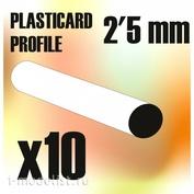 9278 Green Stuff World Пластиковые круглые стержни, 2,5 мм / ABS Plasticard - Profile ROD 2,5mm