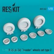 RS72-0261 RESKIT 1/72 Смоляные колёса для B-26 (A-26) Invader, тип 2