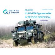 QD35023 Quinta Studio 1/35 3D Декаль интерьера кабины для семейства К-4386 Тайфун-ВДВ (для модели MENG)