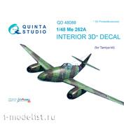 QD48088 Quinta Studio 1/48 3D Cabin Interior Decal Me-262A (for Tamiya Model)