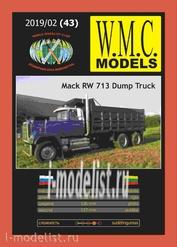 WMC-43 W.M.C. Models 1/25 Mack RW 713 Dump Truck