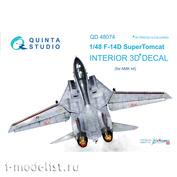 QD48074 Quinta Studio 1/48 3D Cabin Interior Decal F-14D (for AMK model)