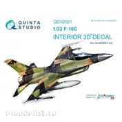 QD32021 Quinta Studio 1/32 3D Декаль интерьера кабины F-16C (для модели Academy)