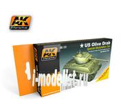 AK-131 AK Interactive Набор акриловых красок OLIVE DRAB COLOR SET (оливковый армии США) (6 красок)