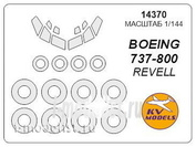 14370 KV Models 1/144 scales a Set of painting masks for the 737 -800 + mask of the rims and wheels