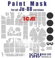 M48 009 KAV models 1/48 Окрасочная маска на остекление Ju-88 (ICM)