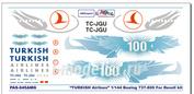 pas045 PasDecals 1/144 Decals Boeing 737-800 Turkish airlines 100