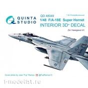 QD48049 Quinta Studio 1/48 3D Cabin Interior Decal F/A-18E (for Hasegawa model)