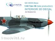 QD48004-Base Quinta Studio 1/48 3D Decal interior cabin Yak-1B (for model Modelsvit)