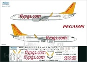 738-013 Ascensio 1/144 Scales the Decal on the plane Boeng 737-800 (Pegasus аrlines)