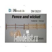 DM35231 DANmodel 1/35 Набор для изготовления забора с калиткой, материал - шпон