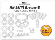 48034 KV Models 1/48 Окрасочные маски для ЯК-28ПП Brewer-E + маски на диски и колеса