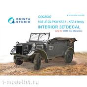QD35007 Quinta Studio 1/35 3D Декаль интерьера кабины для KFZ 1-4 (для модели ICM)