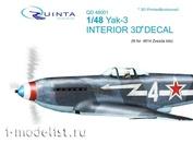 QD48001 Quinta Studio 3D Decal 1/48 of the interior cabin of the Yak-3 (for model Zvezda 4814)