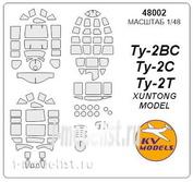 48002 KV Models 1/48 Набор окрасочных масок для остекления модели Туплев-2