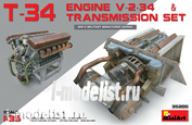 35205 MiniArt 1/35 T-34 V-2-34 engine for t-34 tank with transmission
