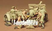 35046 Tamiya 1/35 Английская полевая пушка с расчетом из 6 человек и артиллерийским прицепом.