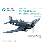 QD48108 Quinta Studio 1/48 3D Cabin Interior Decal F4U-1D (for Tamiya model)