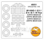48051 KV Models 1/48 Набор окрасочных масок для Bf-109E-1 / E-3 / E-4 / N Trop + маски на диски и колеса