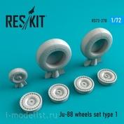 RS72-0270 RESKIT 1/72 Смоляные колёса для Ju-88, тип 1