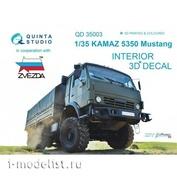 QD35003 Quinta Studio 1/35 3D Декаль интерьера кабины для семейства К@МАЗ 5350 Мустанг (для модели Звезда)