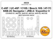 48038 KV Models 1/48 Набор окрасочных масок для C-45F / UC-45F / Expeditor / Expeditor II (Двусторонние маски)  + маски на диски и колеса