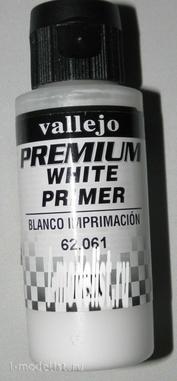 62061  Vallejo Premium Белый грунт, 60мл./White Primer