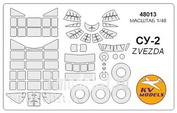 48013 KV Models 1/48 Маска для самолета Сушка-2