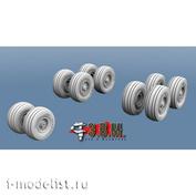 RS144001 Э.В.М. 1/144 Набор высокодетализированных смоляных колес шасси для модели Боинг 757-200 (Звезда)