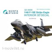 QD48090 Quinta Studio 1/48 3D Cabin Interior Decal F-15E (for GWH model)