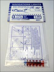 F4851 B Elf 1/48 Навигационные огни, 12х3 шт. Синие, Красные, Прозрачные