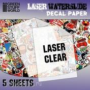 10068 Green Stuff World Прозрачная бумага для создания декалей, для лазерной печати / Waterslide Decals - Laser Transparent