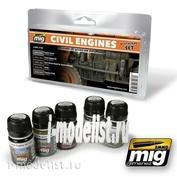 AMIG7146 Ammo Mig CIVIL ENGINES WEATHERING SET (гражданские двигатели)