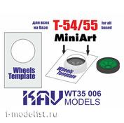 WT35 006 KAV Models 1/35 Roller paint template T-54/55 (MiniArt), 2 pcs.