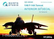 QD48048 Quinta Studio 1/48 3D Декаль интерьера кабины F-14A (для модели Tamiya)