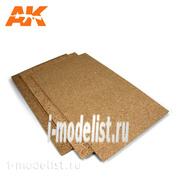 AK-8052 AK Interactive Cork Sheet 200x290x 6mm fine grained / Лист из пробки