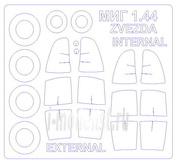 72505-1 KV Models 1/72 Маска на МиГ 1.44 МФИ (двусторонние маски) + маски на диски и колеса