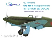 QD48002-Pro Quinta Studio 1/48 3D cabin interior Decal Yak-1 (early series) (for model Modelsvit / law firm)
